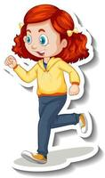 Cartoon character sticker with a girl jogging on white background vector