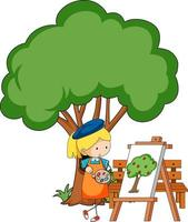 Little artist drawing a tree picture isolated on white background vector