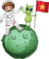 Astronaut standing on a planet and holding flag vector