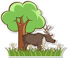 Moose standing in grass field sticker vector