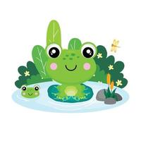 Cute frog sitting on a leaf in a pond . vector