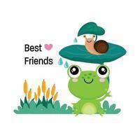 rana y caracol sentados debajo de la hoja. mejores amigos para siempre. vector