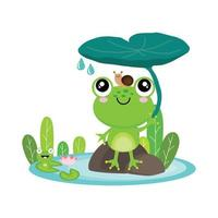 Frog and Snail sitting under leaf. vector