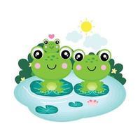 La familia de la rana feliz sentada en una hoja en un estanque. vector
