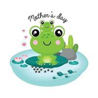 tarjeta de felicitación del día de la madre feliz. dibujos animados de mamá y bebé rana. vector