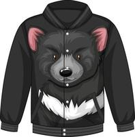 Front of bomber jacket with black bear pattern vector