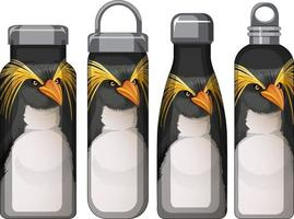 Set of different thermos bottles with penguin pattern vector