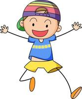 A happy boy doodle cartoon character isolated vector