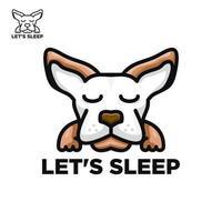 Dog logo sleep concept design vector