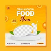 Healthy food menu social media promo banner template vector