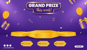 Grand prize contest horizontal banner template with balloons and gift box vector