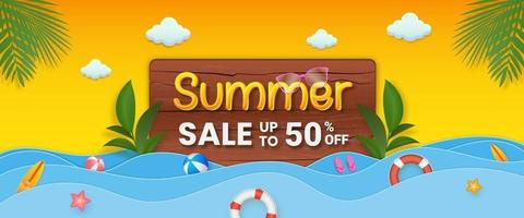 Summer sale promotion banner template with wood and tropical leaves vector
