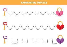 Handwriting practice with heart locks and keys. vector