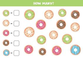 How many donuts are there. Count the number of doughnuts. vector