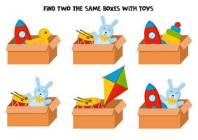 Find two the same boxes with colorful toys. vector