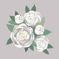 Flower peony bouquet. Floral background. Flourish spring floral greeting card frame design. vector