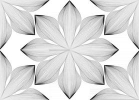 Abstract seamless floral line pattern. Arabic line ornament with flower shapes. Floral orient tile pattern with black lines. Asian ornament. Swirl geometric doodle texture vector