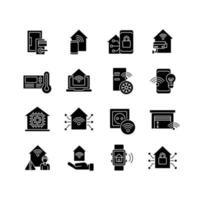 Smart house glyph icons set vector