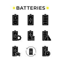 Batteries glyph icons set vector