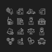 Police chalk icons set vector