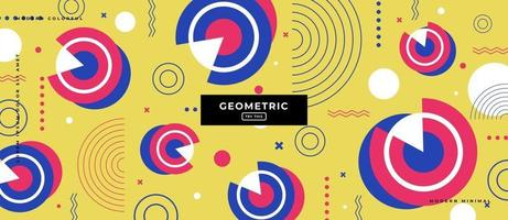 Flat Geometric Shapes Memphis Effect in Yellow Background vector