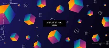 Multicolor Geometric Cube Shapes in Dark Blue Background vector