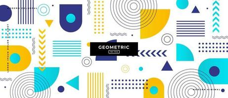 Memphis Style Geometric Shapes Background. vector