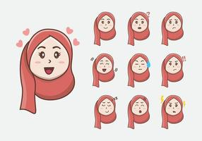 Cute little Hijab Girls facial expression. little Girl face expression. Vector Illustration