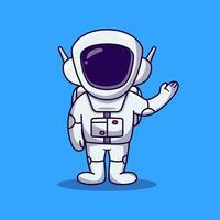 Cute Astronaut raising left hand cartoon. spaceman cartoon vector