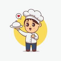 Cute Chef boy serving food illustration. Kawaii cartoon character vector