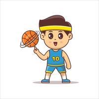 Cute basketball player mascot character playing ball vector. kawaii basketball player vector