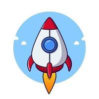 Rocket launch Cartoon flying illustration vector