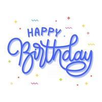 Happy Birthday lettering monoline vector. Beautiful greeting card birthday vector