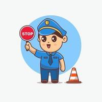 cute Police kawaii  Cartoon character holding stop sign vector