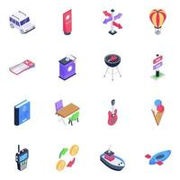 Pack of Camping Tools vector