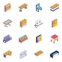 conjunto de muebles con estilo vector