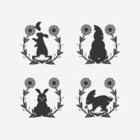 Set rabbit floral art design vector