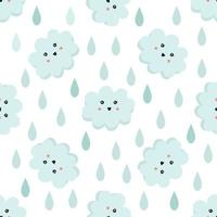 Cute seamless pattern with smiling clouds and raindrops. Wallpaper for kids. vector