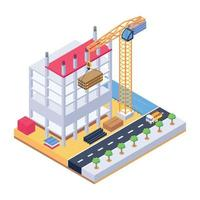 Modern Construction Area and Machinery vector