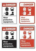 Señal de peligro use equipo de protección, con símbolos de ppe sobre fondo blanco, ilustración vectorial vector