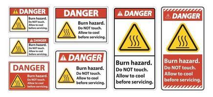 Danger Burn hazard safety,Do not touch label Sign on white background vector