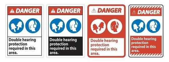 Danger Sign Double Hearing Protection Required In This Area With Ear Muffs and Ear Plugs vector