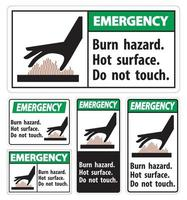 Emergency Burn hazard,Hot surface,Do not touch Symbol Sign Isolate on White Background,Vector Illustration vector