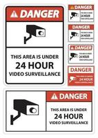 Danger this Area Is Under 24 hour Video Surveillance Symbol Sign Isolated on White Background,Vector Illustration vector