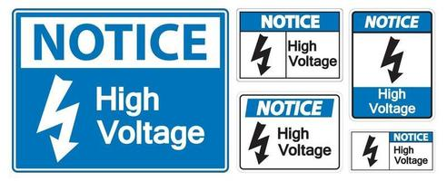 Notice High voltage Sign Isolate On White Background,Vector Illustration EPS.10 vector