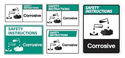 Instrucciones de seguridad signo símbolo corrosivo aislar sobre fondo blanco, ilustración vectorial eps.10 vector