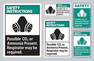 instrucciones de seguridad signo de ppe posible presencia de co2 o amoníaco, es posible que se requiera un respirador vector