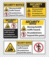 Moving forklift traffic hazard,No pedestrians beyond this point,Symbol Sign Isolate on transparent Background,Vector Illustration vector