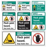 Safety Instructions Pinch Point Hazard,Keep Hands Clear Symbol Sign Isolate on White Background,Vector Illustration vector