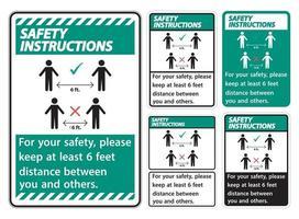 instrucciones de seguridad mantenga una distancia de 6 pies; por su seguridad, mantenga una distancia de al menos 6 pies entre usted y los demás. vector